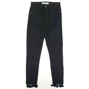 Topshop Moto 26 Jamie Skinny Black Tassel Jeans